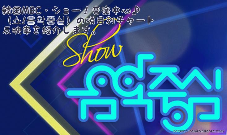 【2018年3月版】韓国MBC・ショー!音楽中心♪(쇼!음악중심)の項目別チャート反映率を紹介します。
